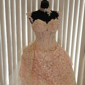 Blush & Ivory Victorian Inspired Wedding Gown Set